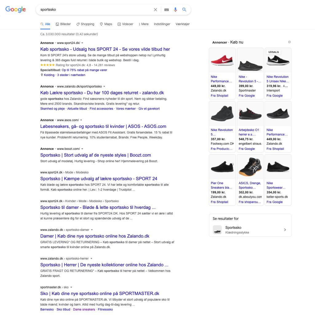 Googles søgeresultat